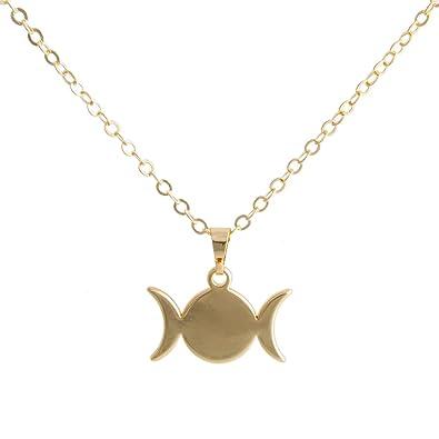 Amazon senfai triple moon goddess symbol pendant necklace 18 3 senfai triple moon goddess symbol pendant necklace 18quot aloadofball Image collections