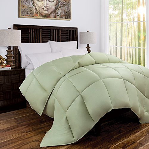 Mandarin Home Luxury 100% Rayon Derived From Bamboo Comforter with Goose Down Alternative Fill - All Season Hotel Quality Eco-Friendly Hypoallergenic Comforter - King/Cal King - Olive/Sage