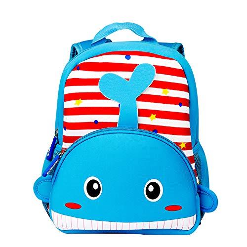 Toddler Backpack, Waterproof Preschool Backpack, 3D Cute Cartoon Neoprene Animal Schoolbag for Kids, Lunch Box Carry Bag for 1-6 Years Boys Girls, Whale