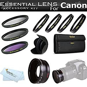 Essential Lens Kit For The Canon SX30IS SX30 IS SX40HS SX40 HS Digital Camera Includes HD .43x Wide Angle Lens + 52MM Close Up Lens Kit Includes +1 +2 +4 +10 + 3pc High Res Filter Kit (UV-CPL-FLD) + Lens Hood + MicroFiber Cleaning Cloth