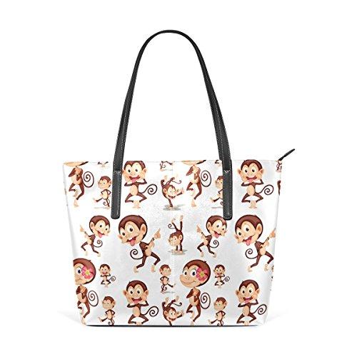 COOSUN Affe Muster PU Leder Schultertasche Handtasche und Handtaschen Tasche für Frauen