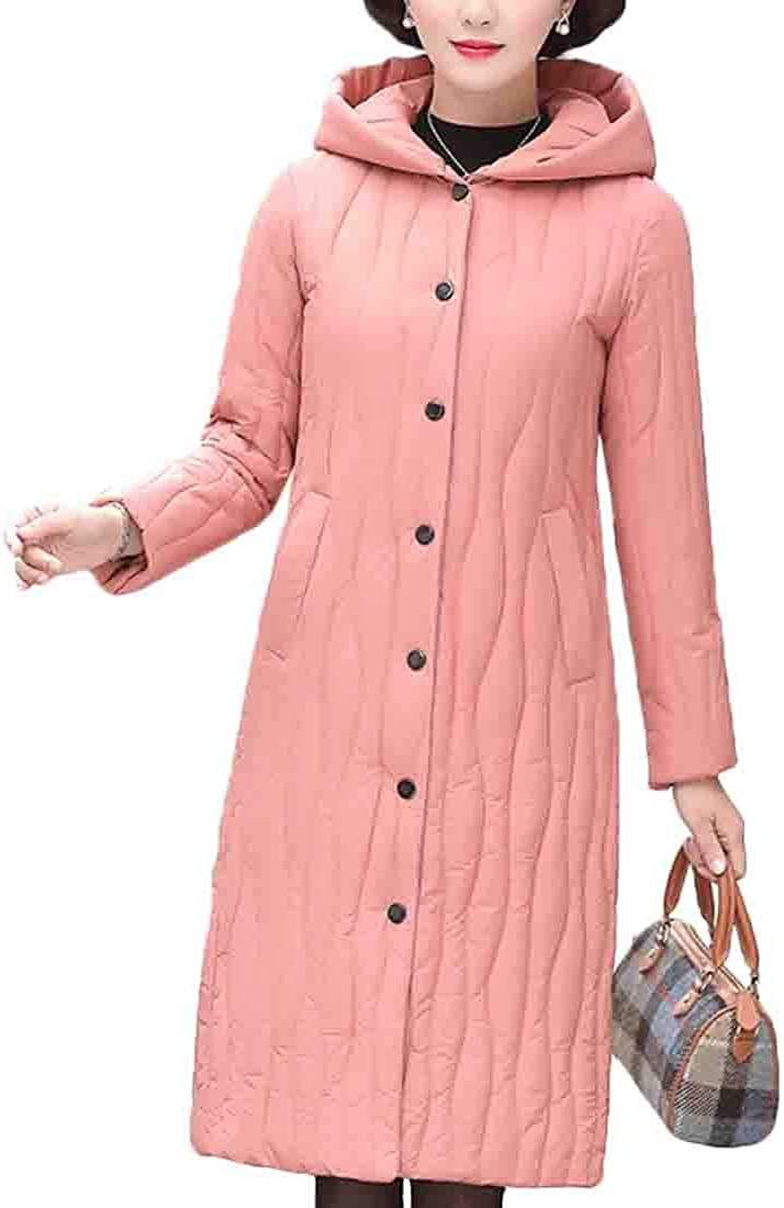 XQS Womens Winter Coat Long Thick Hooded Warm Overcoat Down Jacket