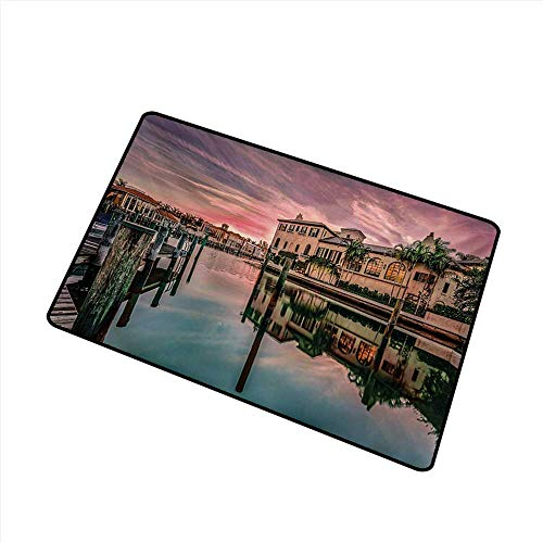 Axbkl Interior Door mat Cityscape Colorful Sunrise Over Venetian Bay Naples Florida Apartments Trees Waterscape W24 xL35 Quick and Easy to Clean
