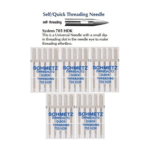 Threading Sewing Machine Needle (25 Schmetz Quick Threading Universal Sewing Machine Needles 705 HDK Size 80/12)