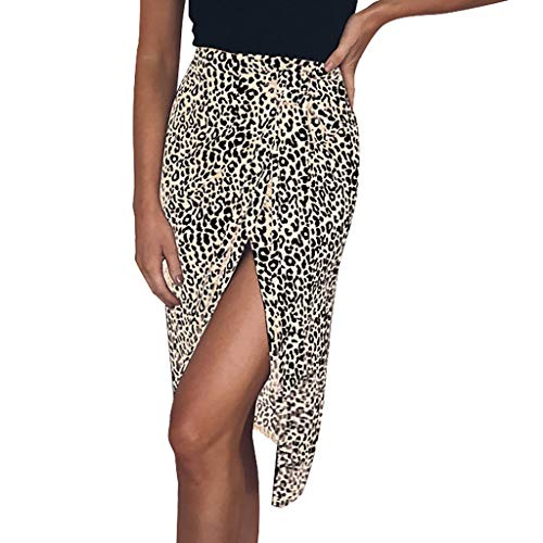 Benficial Fashion Women Leopard Bandage Bodycon Lace Up Split Short Skirt Beige