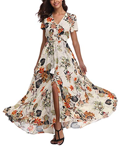 V fashion Women's Floral Maxi Dress Button Up Split Summer Boho Long Beach Dress Beige