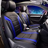 FH Group Leatherette Blue Car Seat Cushions Sideless PU208BLUE102 Set of 2 Airbag Compatible