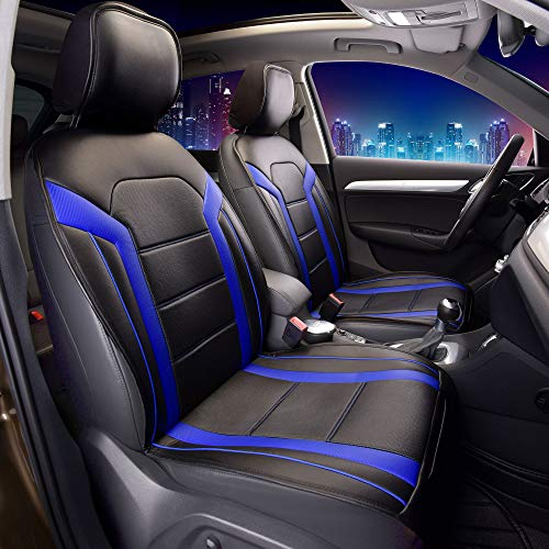 FH Group PU208BLUEBLACK102 Blue/Black Leatherette Car Seat Cushions Airbag Compatible