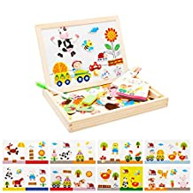 Baby Kids Educational Wooden Easel Toys Magnetic Puzzle Sketchpad Jigsaw Game For Children Birthday Chirstmas Gift