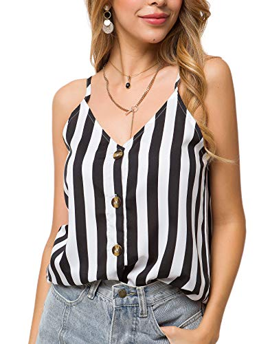 (Black and White Striped Tank Tops for Plus Size Women Summer Casual V Neck Button Down Strappy Cami Tanks Top(Y Black,2X) )