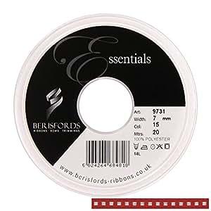 Berisfords - Cinta de tela  (7 mm), color rojo con una línea punteada blanca