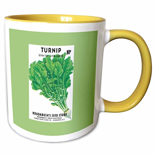(3dRose BLN Vintage Seed Packet Reproductions - Turnip Seven Top for Greens Vegetable Seed Packet Reproduction - 15oz Two-Tone Yellow Mug (mug_170950_13))