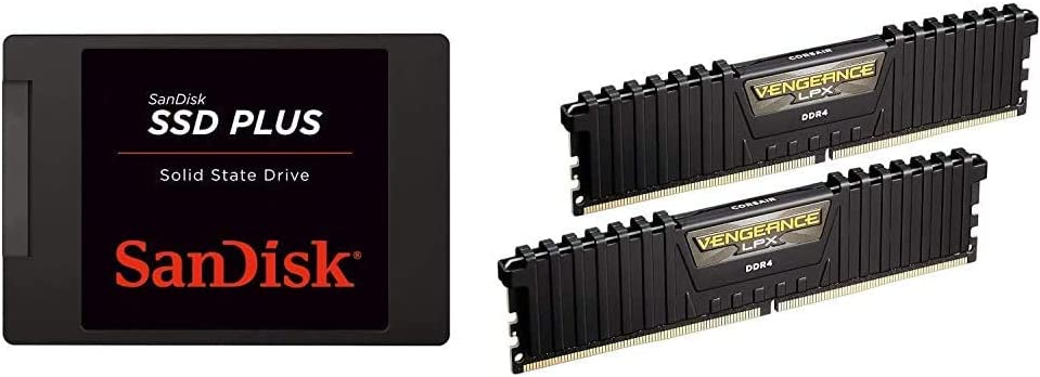 SanDisk SSD Plus 1TB Internal SSD - SATA III 6 Gb/s, 2.5%22/7mm - SDSSDA-1T00-G26,Black & Corsair Vengeance LPX 16GB (2x8GB) DDR4 DRAM 3000MHz C15 Desktop Memory Kit - Black (CMK16GX4M2B3000C15)