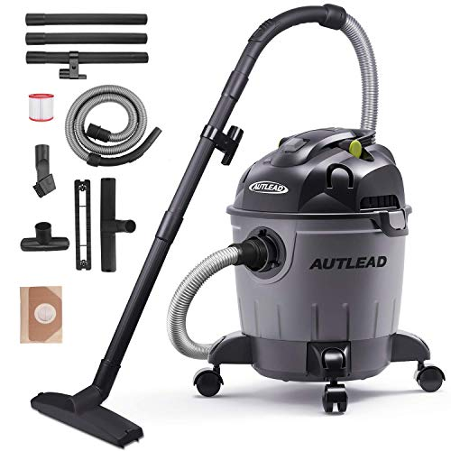 AUTLEAD Wet Dry Vacuum 5.5 HP 5 Gallon Pure Copper Motor Wet Dry Blow 3 in 1 Shop Vac, Stable Round Bucket Design with Pulley System and HEPA Filter, WDS01A