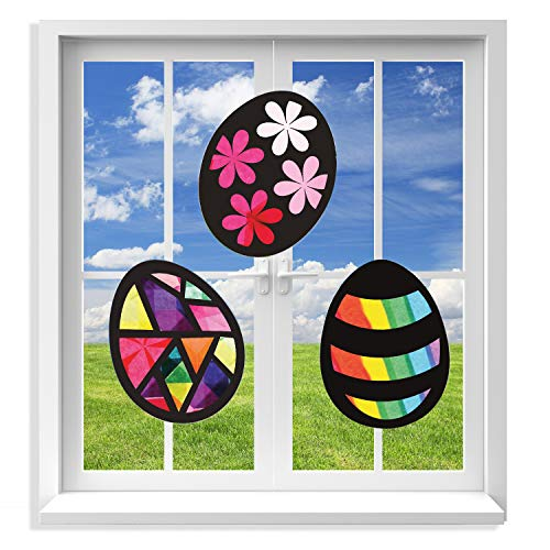 VHALE 3 Sets of Stained Glass Effect Paper Suncatcher Kits, Window Art, Window Decorations, Creative Arts and Crafts, Great Travel Toys and Party Favors for Kids (Easter Egg) ()