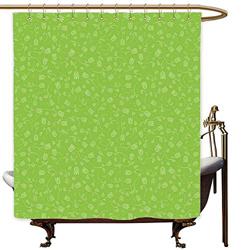 (SKDSArts Shower Curtains for Bathroom Japanese Green,Doodle Style Tulip Flowers with Swirled Twigs and Leaves Blossoming Nature,Lime Green White,W69 x L72,Shower Curtain for clawfoot tub)