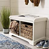 Safavieh American Homes Collection Freddy Distressed White Wicker Storage Bench