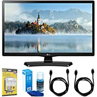 LG 28LJ4540 28-Inch 720p HD LED TV (2017 Model) w/ Accessories Bundle Includes, SurgePro 6-Outlet Surge Adapter with Night Light, 2x 6ft. HDMI Cable & Screen Cleaner For LED TVs