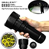 32000 Lumen High Power Police Tactical Waterproof Search Flashlight Most Powerful Flood LED Flashlight Neutral Black Battery Charger & 3000mAh 18650 Li-ion batteries 8 pcs Included (US, Black)
