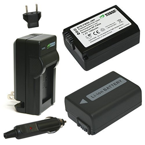 Wasabi Power Battery (2-Pack) and Charger for Sony NP-FW50 (Compatible with Alpha a7, a7 II, a7R, a7R II, a7S, a7S II, a5000, a5100, a6000, a6300, a6500, NEX-5T, Cyber-shot DSC-RX10 III and more) (Compatible Kit Battery)