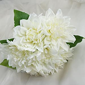 Lily Garden Dahlia Artificial Flowers Set of 6 (White)