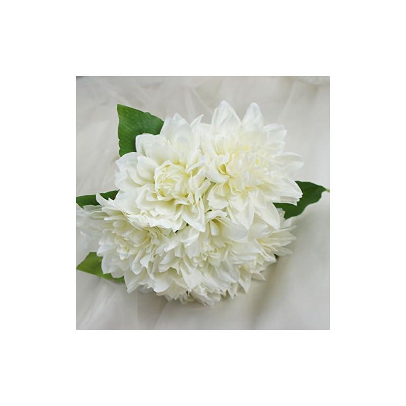 silk flower arrangements lily garden dahlia artificial flowers set of 6 (white)