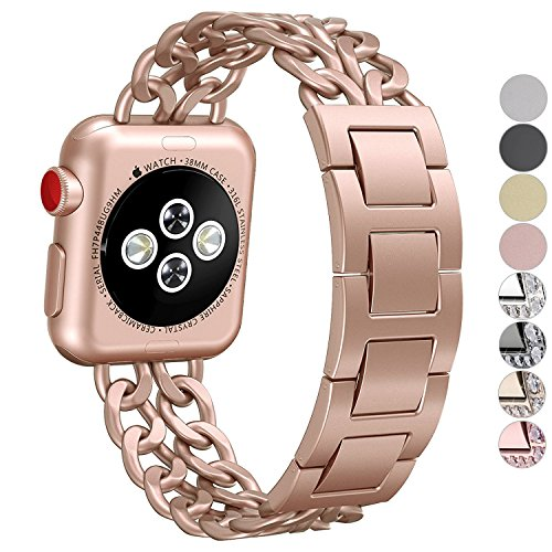 NO1seller Top Stainless Steel Metal Cowboy Style Watch Band Bracelet Strap for Apple Watch Series 3, Series 2, Series 1, Small and Large Size, For Women and Men, Apple Watch Series 3 Gold - 42mm by NO1seller Top