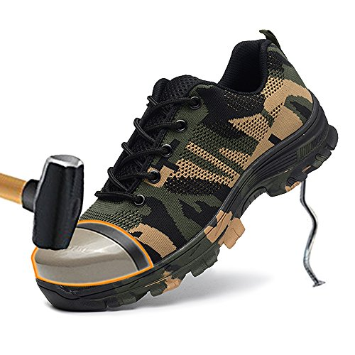 Mens Work Steel Puncture Footwear Green Camouflage Proof Industrial Toe Shoes TRUPO Safety Construction SAdAOq