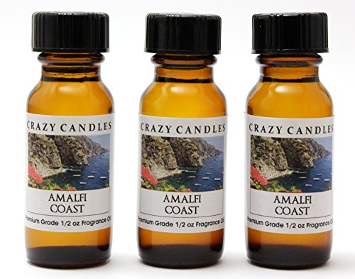 Amalfi Coast 3 Bottles 1/2 Fl Oz Each (15ml) Premium Grade Scented Fragrance Oil By Crazy Candles (Italian Aroma of Freesia, Lavender and Lime)