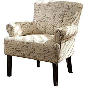 Homelegance Langdale 1212F2S Vintage Print Fabric Flared Arm Accent Chair, Beige