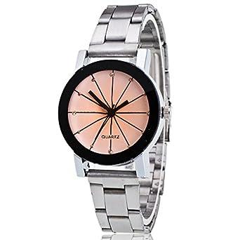 Rosepoem Los relojes de cuarzo Relojes minimalistas de lujo reloj de la banda de acero inoxidable Pareja simple reloj de pulsera reloj analógico Display Las ...