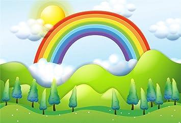 Amazon Com Csfoto 8x6ft Background For Rainbow Green Mountain Photography Backdrop Cartoon Trees White Clouds Children Birthday Party Decor Celebration Child Kid Portrait Photo Studio Props Vinyl Wallpaper Camera Photo