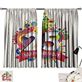 Jinguizi 25th Birthday Curtain Darkening Blackout Funny Celebration Greeting Card Inspired with Number Text Label Art Print Woven Darkening Curtains Multicolor W55 x L39