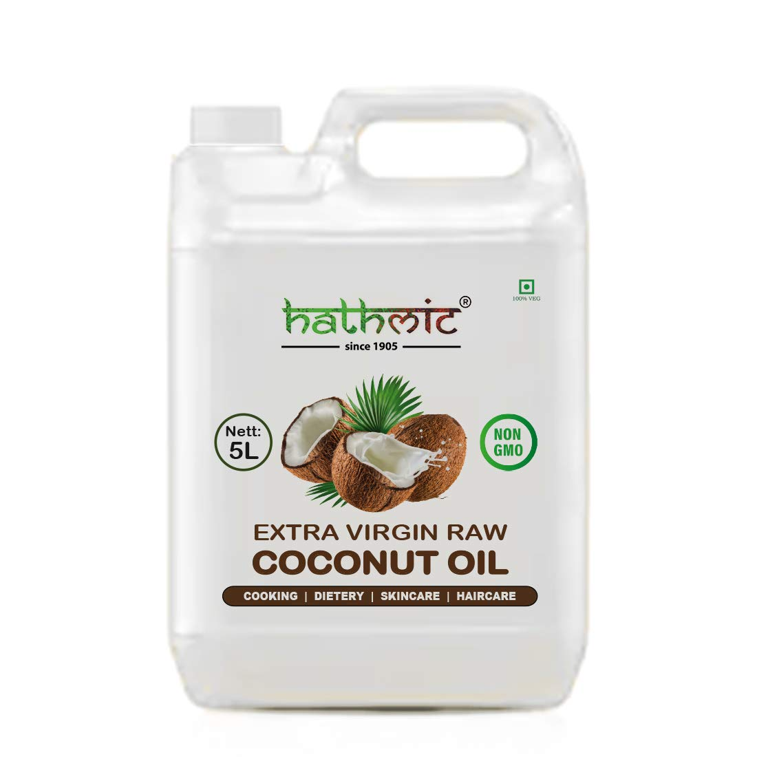 Hathmic Raw Extra Virgin Cold Pressed Coconut Oil, 5L HDPE (B07K34785N) Amazon Price History, Amazon Price Tracker