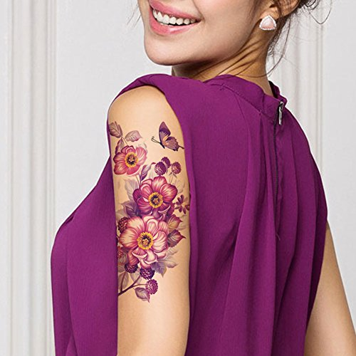 TAFLT Purple Flower and Butterfly Fake Tattoos Look Real Waterproof Arm Temporary Tattoos for Women 5 Sheets