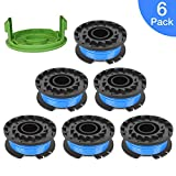 """Thten 0.065"""" Single Line Auto-Feed Replacement Trimmer Spool 29092 for Greenworks Weed Eater String 24V and 40V Trimmer (6 Packs Plus 1 Cap)"""