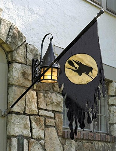 (Victorian Trading Co Tattered Gauze Gray Witch on Broom Halloween Outdoor Flag)