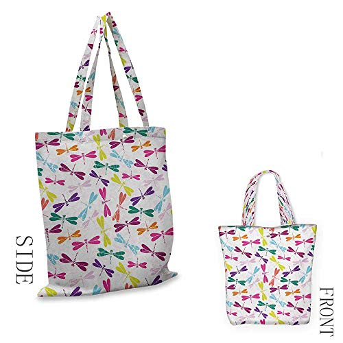 DragonflyExquisite shopping bagKids Nursery Childhood Playroom Birthday Bunch of Winged Animals Floral PatternFoldable shopping bag W15.75 x L17.71 Inch Multicolor (Partridge Family Shopping Bag)