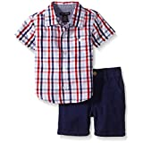 Tommy Hilfiger Baby Boys' Woven Plaid Poplin Shirt and Brushed Twill Shorts, Navy, 12 Months