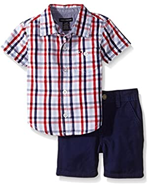 Tommy Hilfiger Baby Boys' Woven Plaid Poplin Shirt and Brushed Twill Shorts