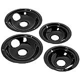 Stanco 4 Pack Universal Electric Range Black Porcelain Reflector Bowl