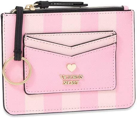 Victoria/'s Secret Keychain Coin Purse Pink /& White Stripes Wallet NWT