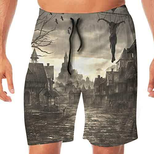 26a2cc8520 Quick Dry Men's Beach Shorts Creepy Castle Swim Trunks Surf Board Pants  Pockets