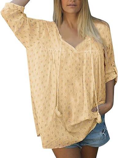 VEMOW Tops Mujer Moda Blusas para Loose Elegantes Camisa de Verano Mujer Casual Media Manga con Cuello en V Impreso Camisetas Verano Blusa t Shirt: Amazon.es: Ropa y accesorios