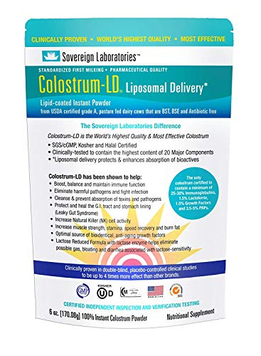 Enhanced Absorption Liposomal Colostrum Powder - Proprietary Colostrum-LD Tech Provides up to 1500% More Bio-Availability Over Regular Colostrum - 6oz by Sovereign Laboratories