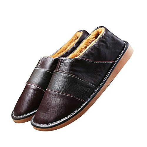TELLW c¨¢lido invierno zapatillas de cuero para hombres y mujeres invierno zapatos interior suave permeabilidad zapatillas de piel de vaca Rotbraun