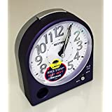 RHYTHM Metallic Purple Alarm Clock, Silent Sweep No Tick, Beep Alarm Snooze and Light by RHYTHM