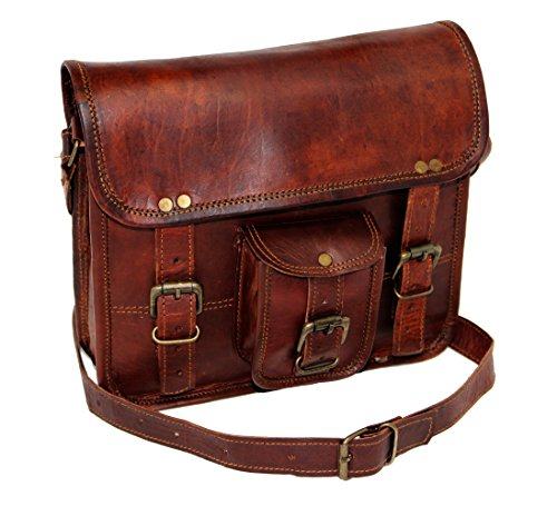 11 Men's Genuine Leather Small Briefcase Messenger Satchel Ipad Tab Tablet Bag