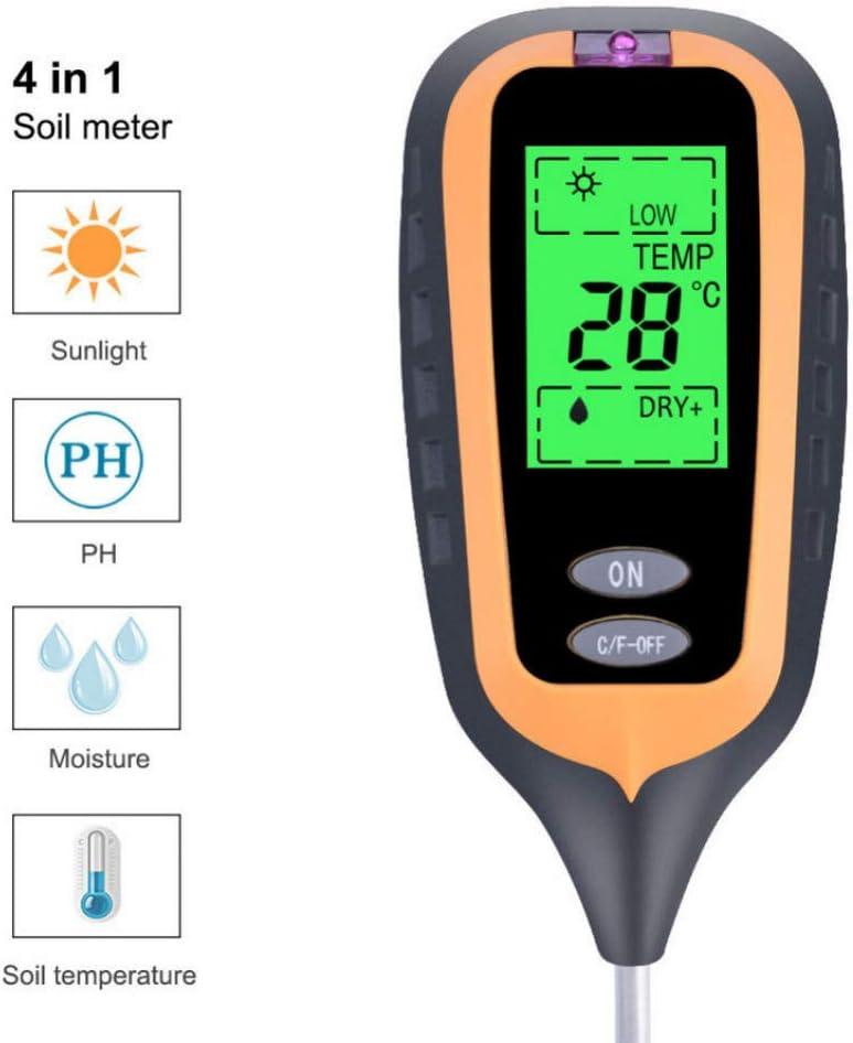 Bodens/äuremessger/ät PH-Meter i4t.AIX 4-in-1-Bodentester-Feuchtigkeitsmesser-Lichtdetektor Bodenfeuchtigkeitsthermometer f/ür Gartenpflanzen im Innen- und Au/ßenbereich