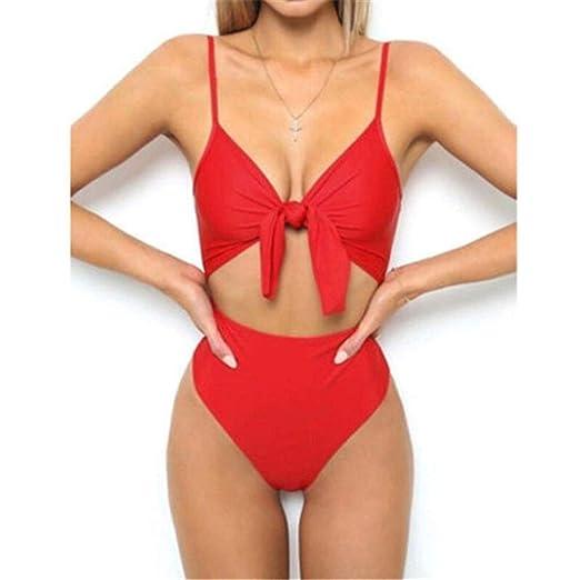 QX-Swimsuit Traje de baño de una Pieza Mujer Verano Sólido ...